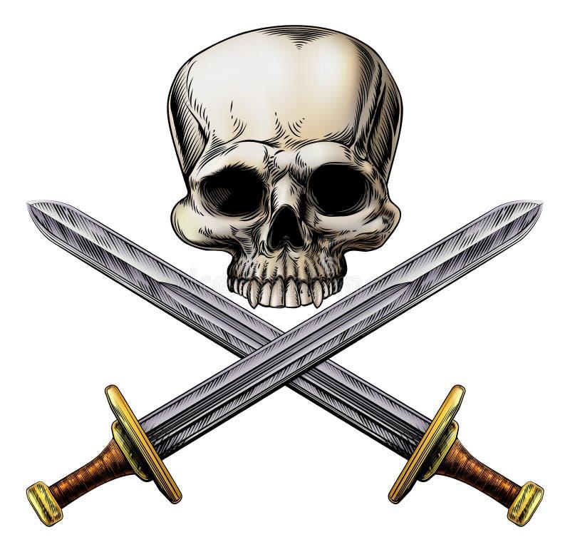 Espadas do crânio e da cruz do pirata ilustração do vetor