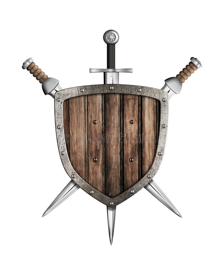 Espadas e protetor de madeira isolados ilustração stock