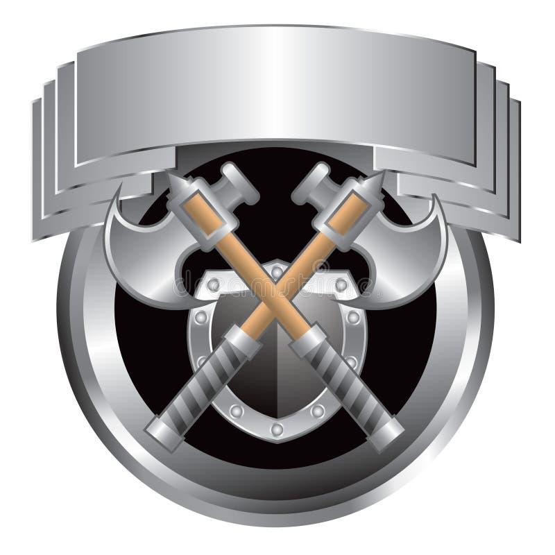 Espadas e protetor de prata na crista de prata ilustração royalty free
