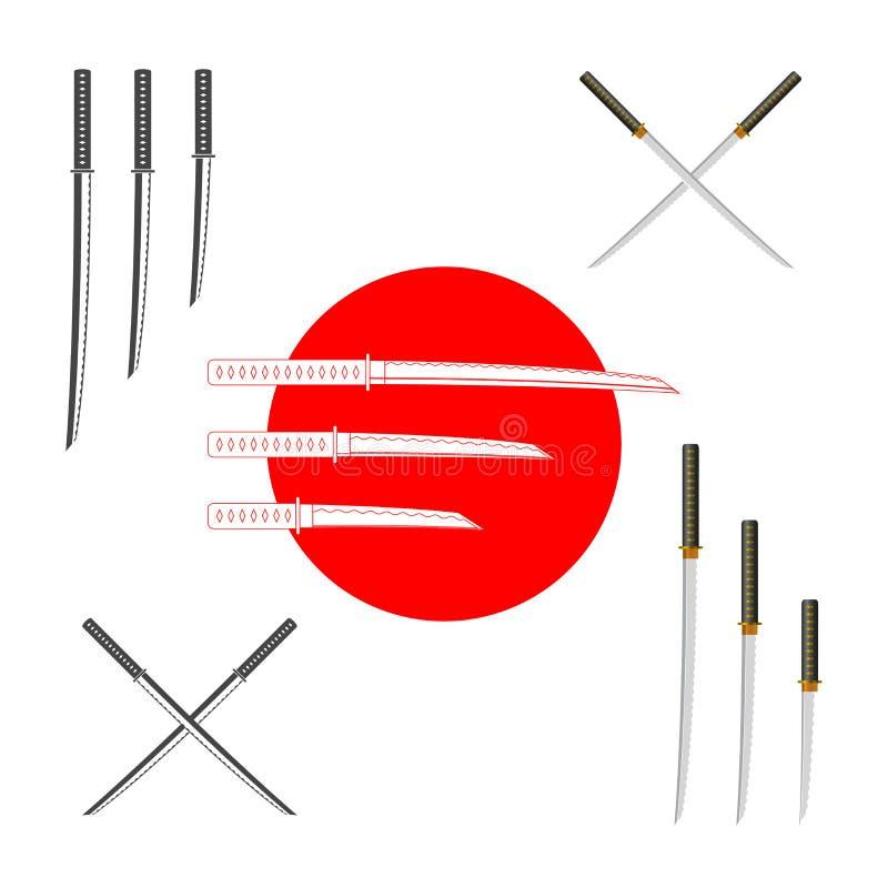 Espadas japonesas do samurai - coloridas e monocromáticas Grupo de elementos do projeto do vetor para você projeto, menu do sushi ilustração do vetor