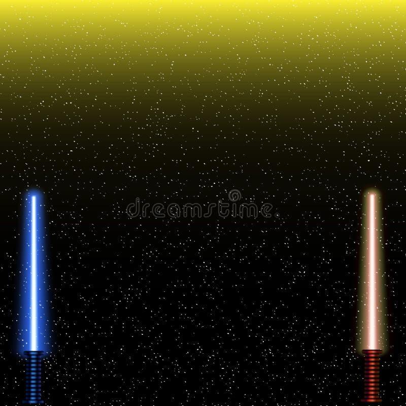 Espadas leves no fundo do espaço Ilustração do vetor EPS10 Lightsaber no céu noturno ilustração stock