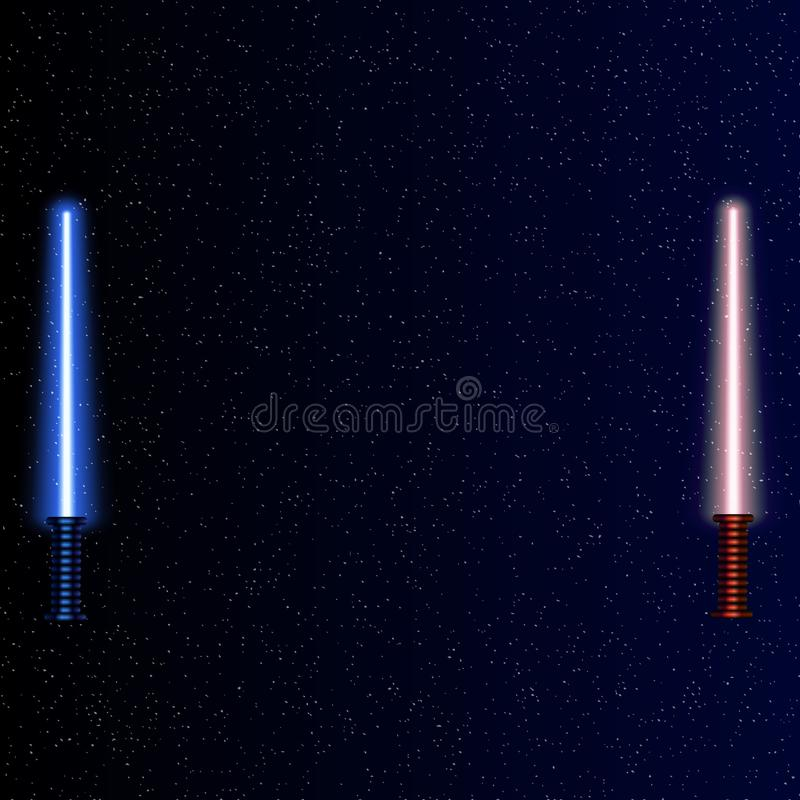 Espadas leves no fundo do espaço Ilustração do vetor Lightsaber no céu noturno ilustração do vetor