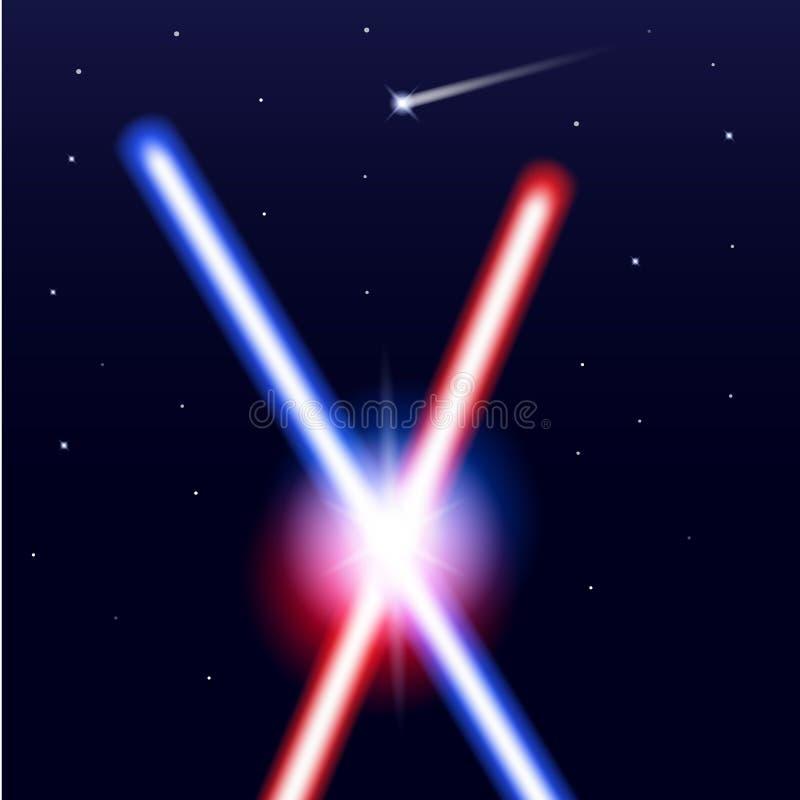 Espadas ligeras cruzadas en fondo negro aislado con las estrellas Rayos laser coloridos brillantes realistas Ilustración del vect stock de ilustración