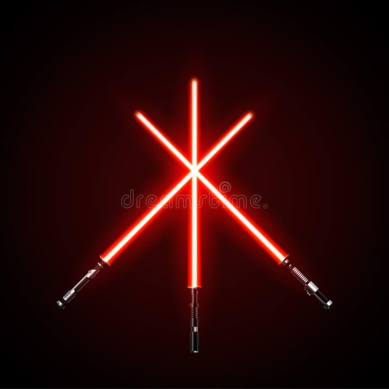 Espadas ligeras cruzadas rojo Ejemplo del vector en fondo oscuro ilustración del vector