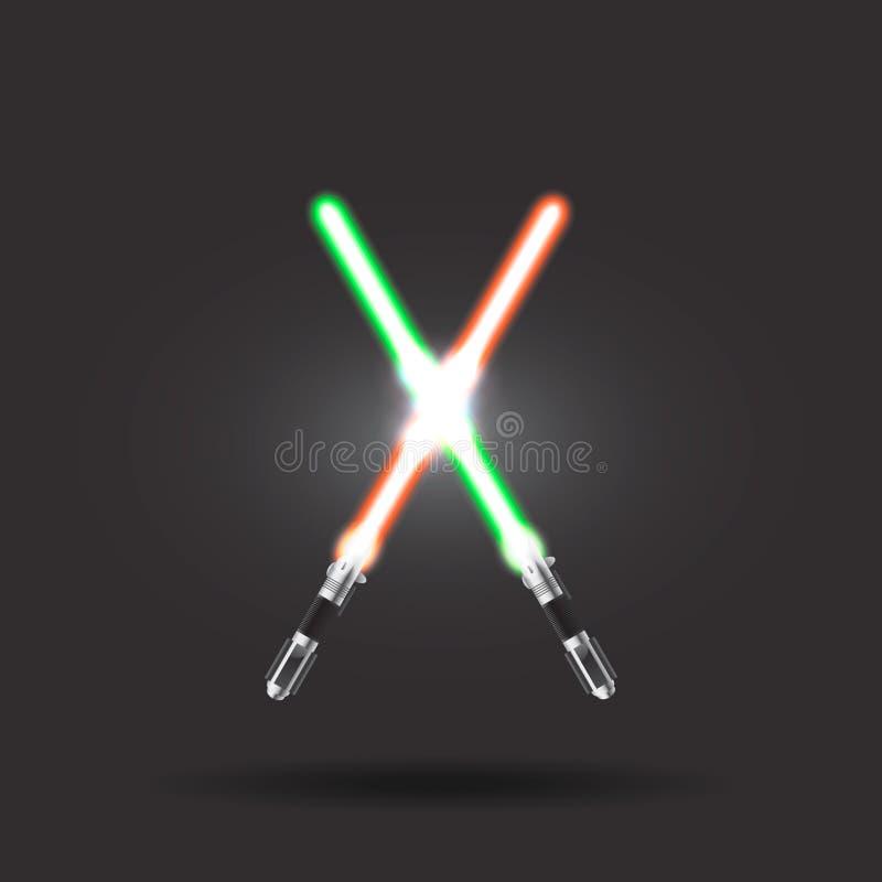 Espadas ligeras en fondo del espacio Ilustración del vector Lightsaber en el cielo nocturno fotos de archivo