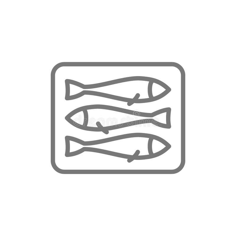Espadines, línea icono de los pescados stock de ilustración