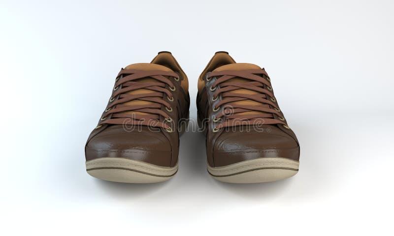 Espadrilles de Brown avec les dentelles, 3d photos stock