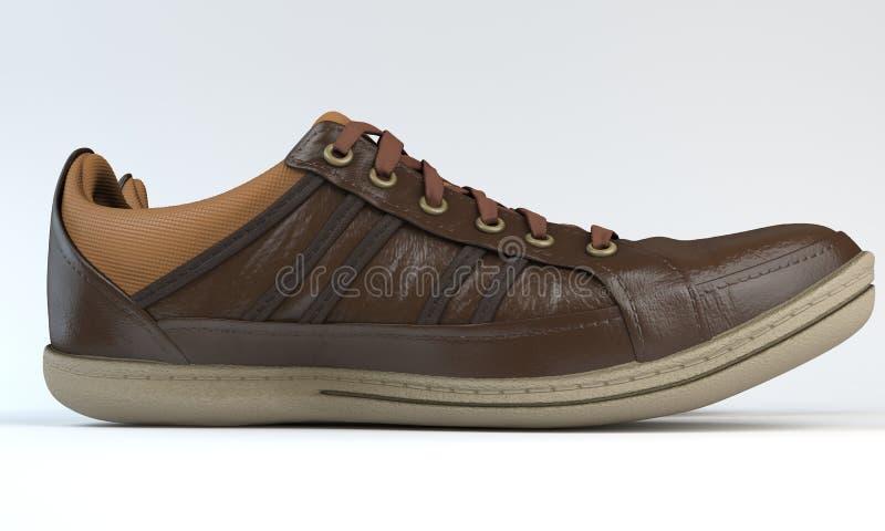 Espadrilles de Brown avec les dentelles, 3d image stock