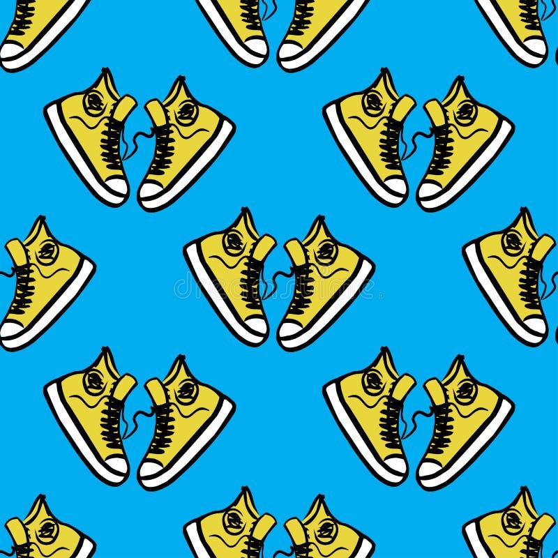 Espadrilles sur un fond bleu illustration de vecteur