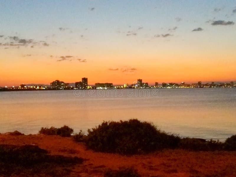 Espagne, Mar de Cristal, solnedgång arkivbilder