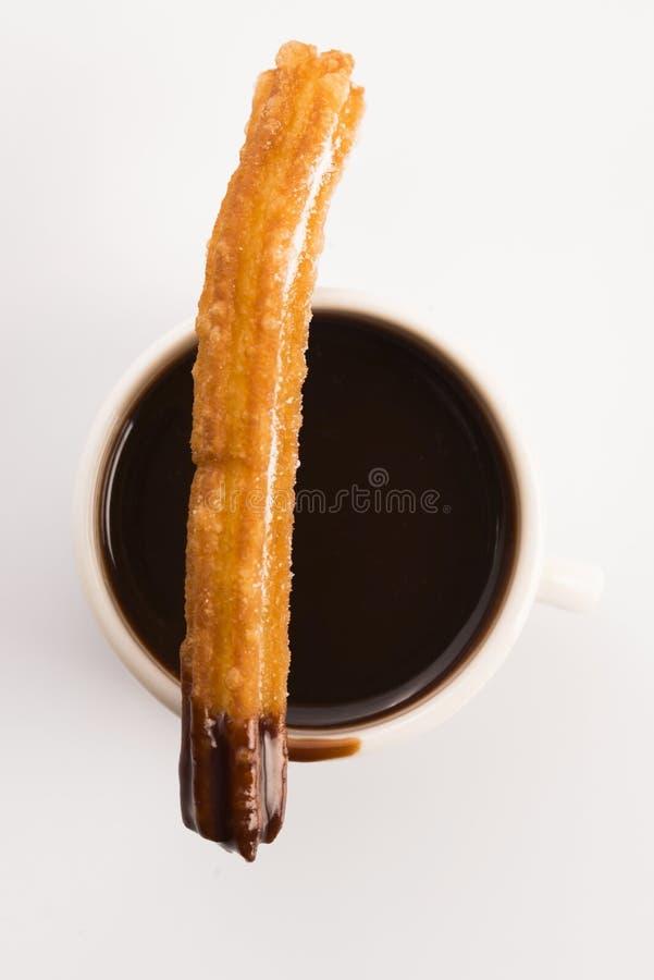 Espagnol Churros de Deliciuos avec du chocolat photo stock