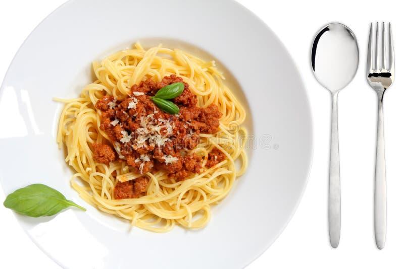 Espaguete Bolonhês na placa fotos de stock royalty free