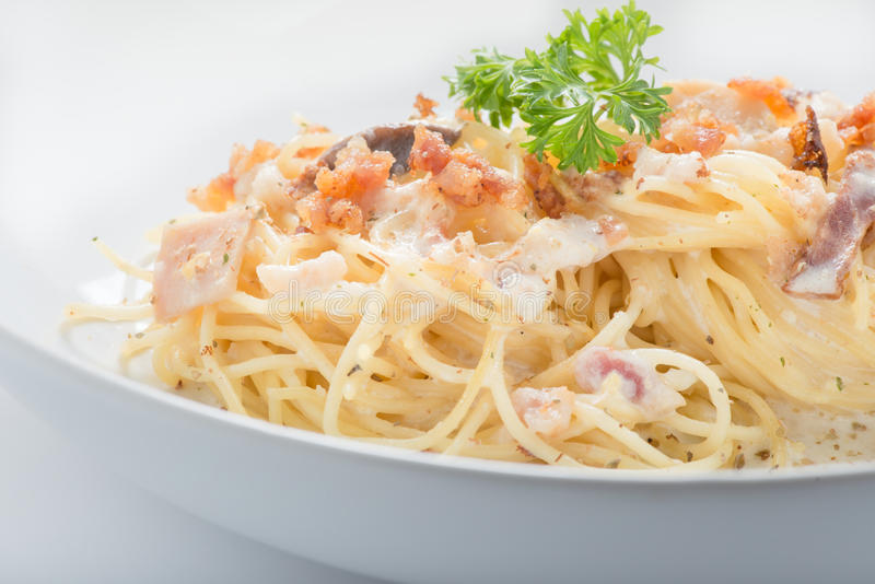 Espaguete Carbonara foto de stock royalty free