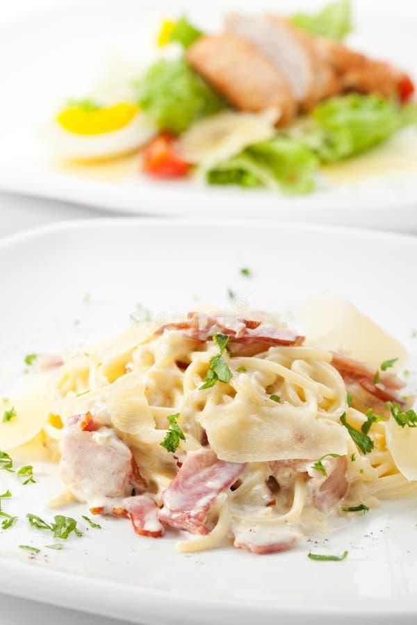 Espaguete Carbonara imagem de stock royalty free
