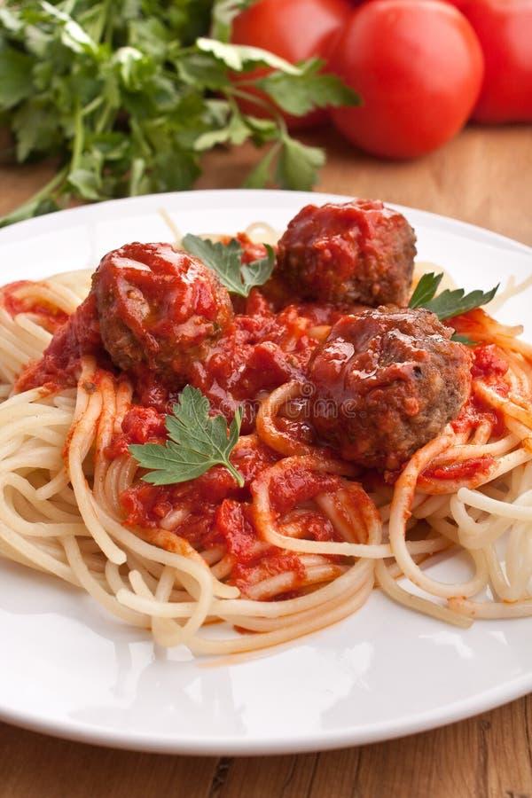 Espaguete com meatballs fotografia de stock