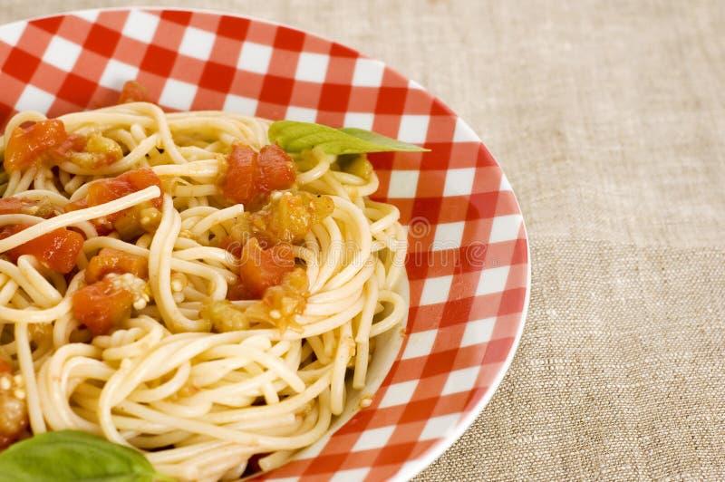 Espaguete com molho imagens de stock