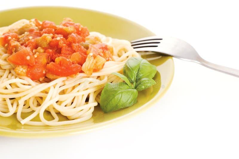 Espaguete com molho imagem de stock