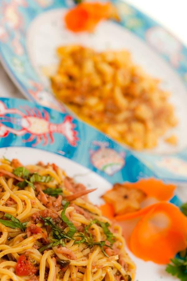 Espaguete com seafoood. imagens de stock royalty free