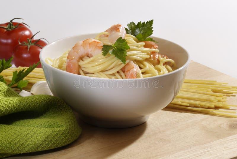 Espaguete do camarão foto de stock