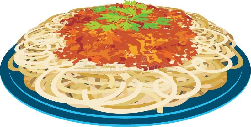 Espaguete em uma placa ilustração royalty free