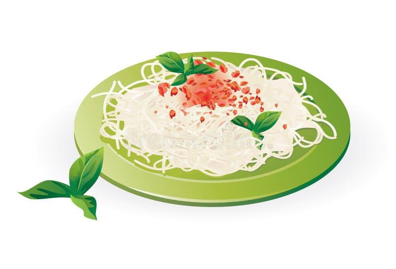 Espaguete italiano na placa - vetor ilustração do vetor