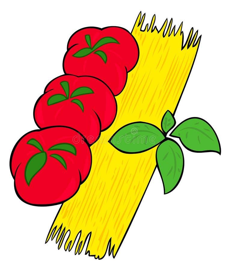 Espaguete, tomates e manjericão. ilustração stock