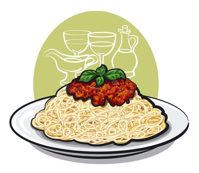 Espaguetes bolonhês ilustração do vetor