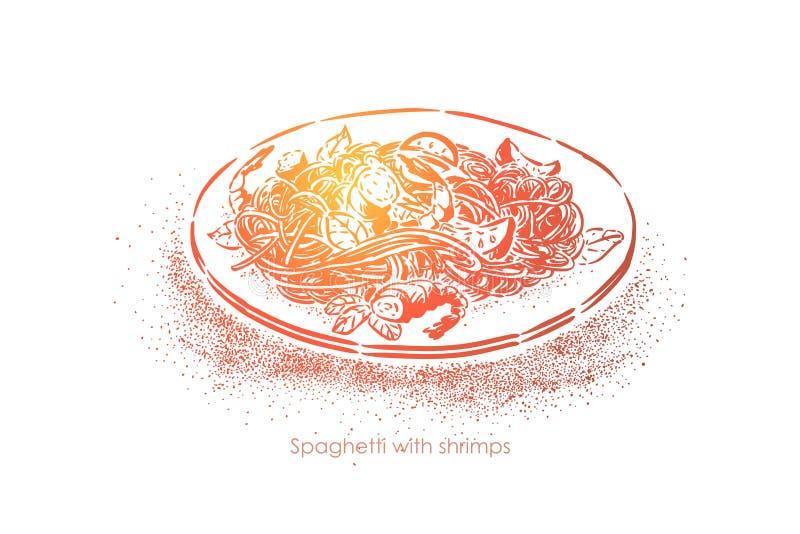 Espaguetes com camarões, macarronetes fervidos com marisco, jantar gourmet delicioso, culinária nacional, massa com camarões ilustração stock