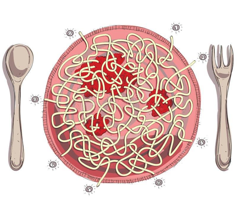 Espaguetes com jogo do labirinto do molho de tomate ilustração do vetor