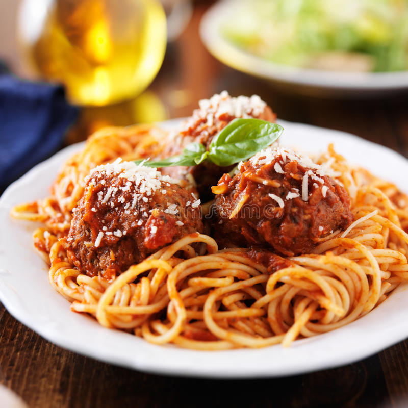 Espaguetes e almôndegas fotos de stock royalty free