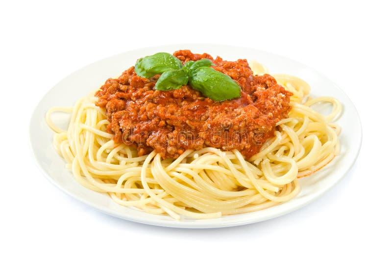 Espagueti boloñés en blanco fotos de archivo libres de regalías