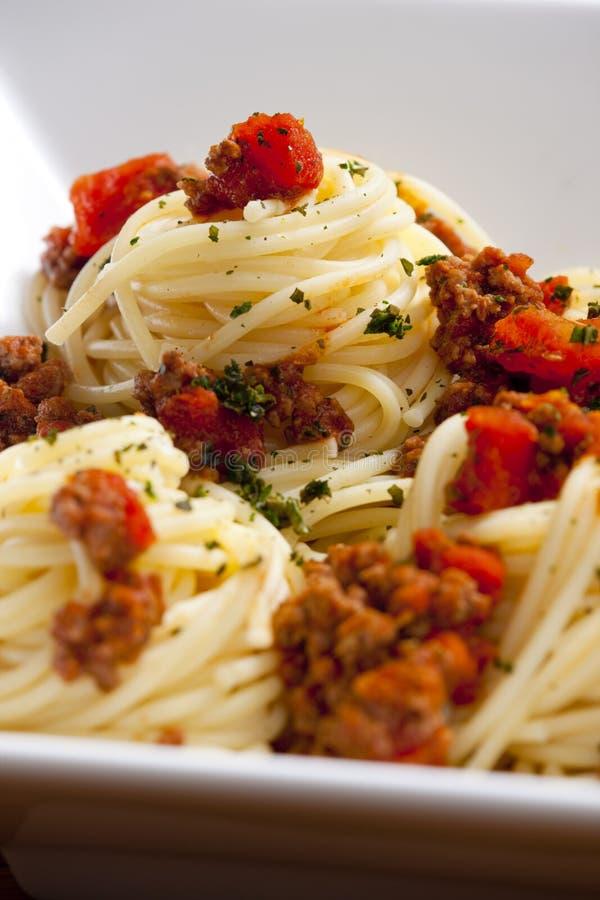 Espagueti con la carne picadita fotografía de archivo