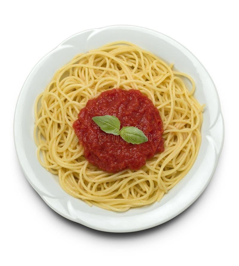 Espagueti con la salsa de tomate fotos de archivo
