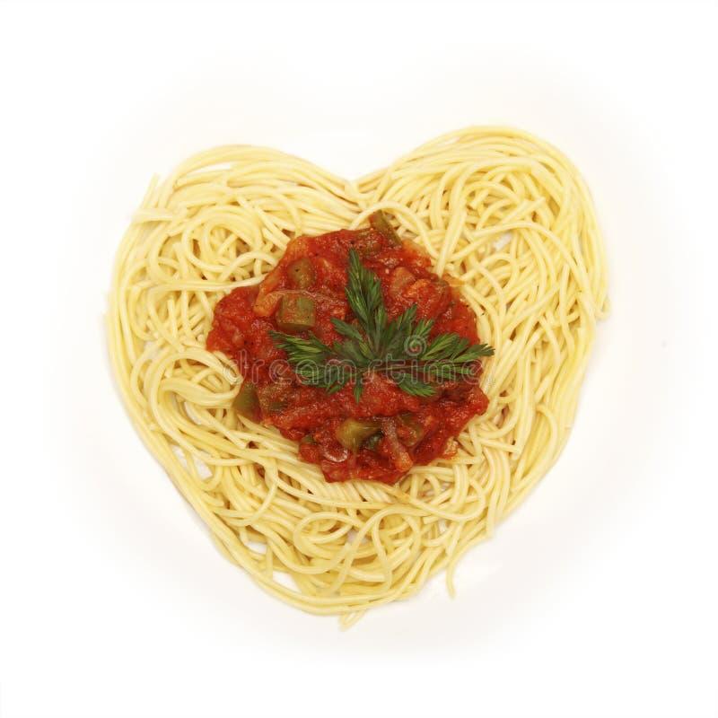 Espagueti para el día de tarjeta del día de San Valentín foto de archivo