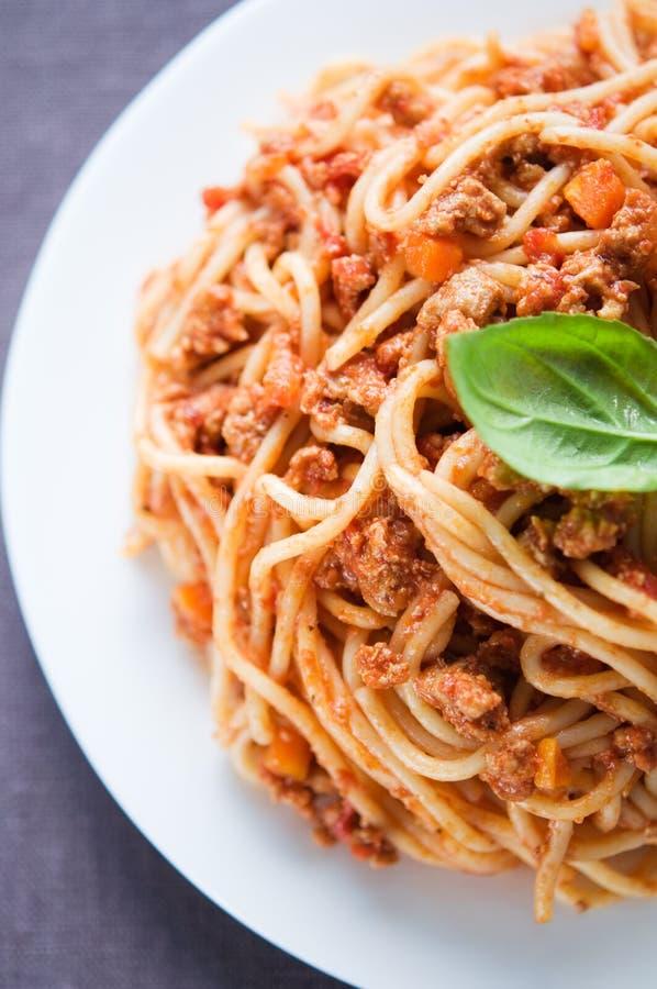 Espaguetis boloñés imagen de archivo