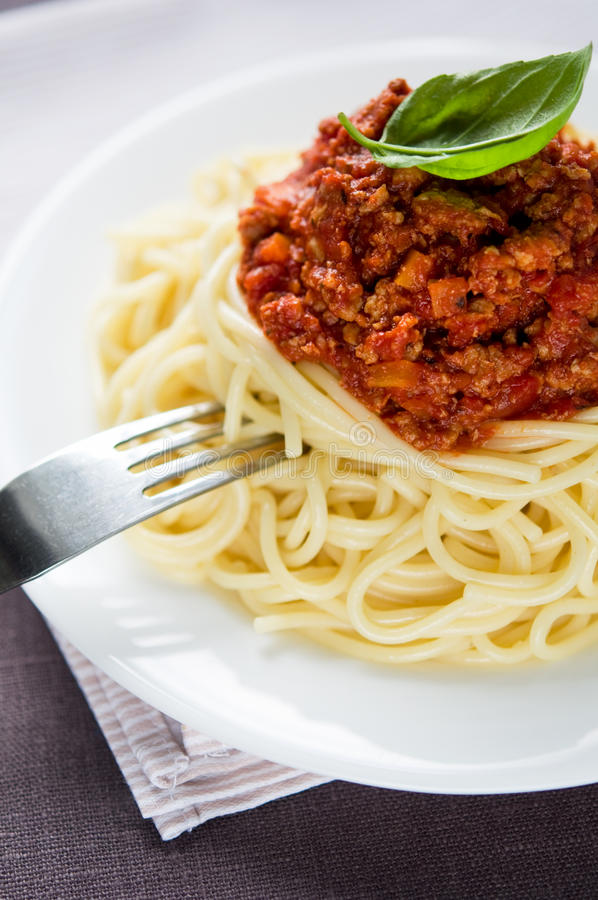 Espaguetis boloñés foto de archivo