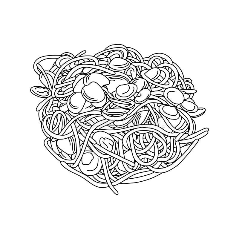 Espaguetis con la mano del garabato del bosquejo del ejemplo del vector de las almejas dibujada con las líneas negras aisladas en ilustración del vector