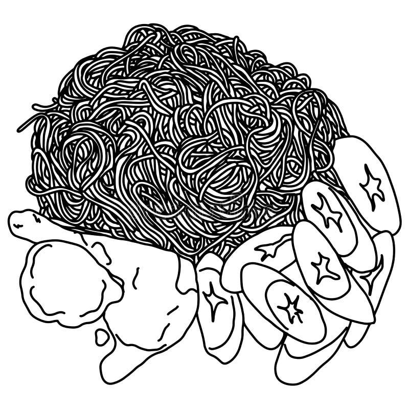 Espaguetis con la mano del garabato del bosquejo del ejemplo del vector del pollo y de las verduras dibujada con las líneas negra libre illustration