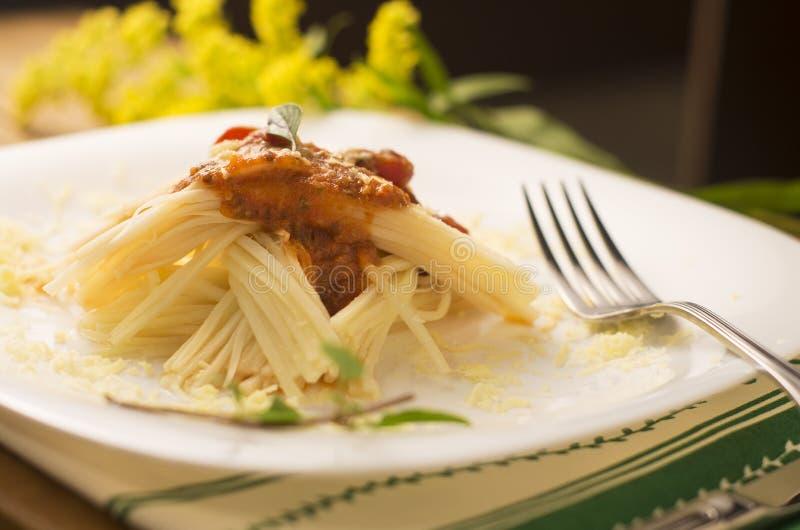 Espaguetis hechos de palmetto imagen de archivo