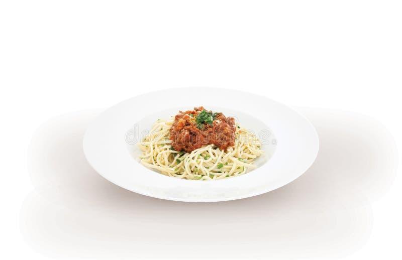 Espaguetis italianos boloñés de las pastas foto de archivo
