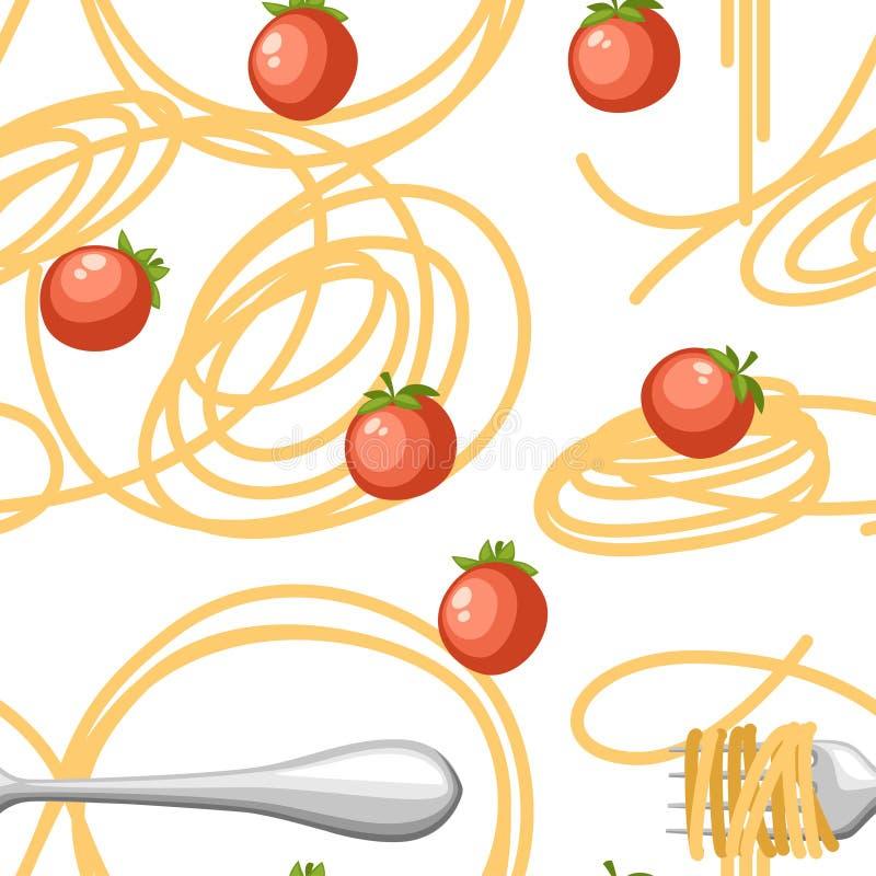 Espaguetis italianos de las pastas de la comida con los tomates Modelo incons?til Ejemplo plano en el fondo blanco P?gina del sit stock de ilustración