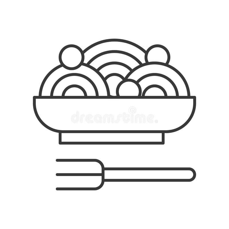 Espaguetis o pastas, icono del vector del esquema de la comida libre illustration