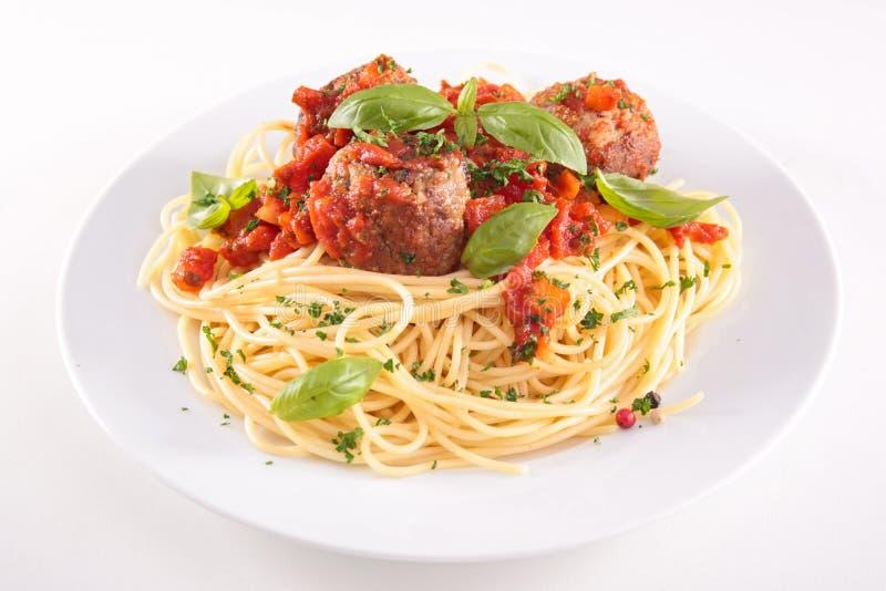 Espaguetis y albóndigas fotografía de archivo libre de regalías
