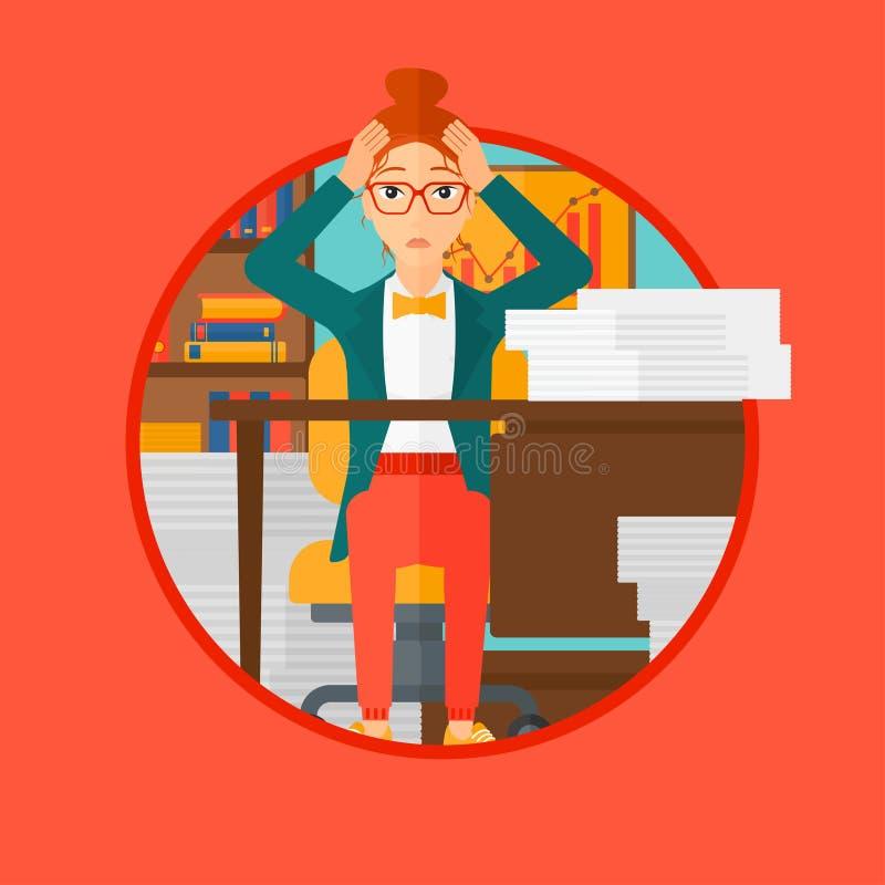 Espair della donna di disperazione che si siede nell'ufficio illustrazione di stock