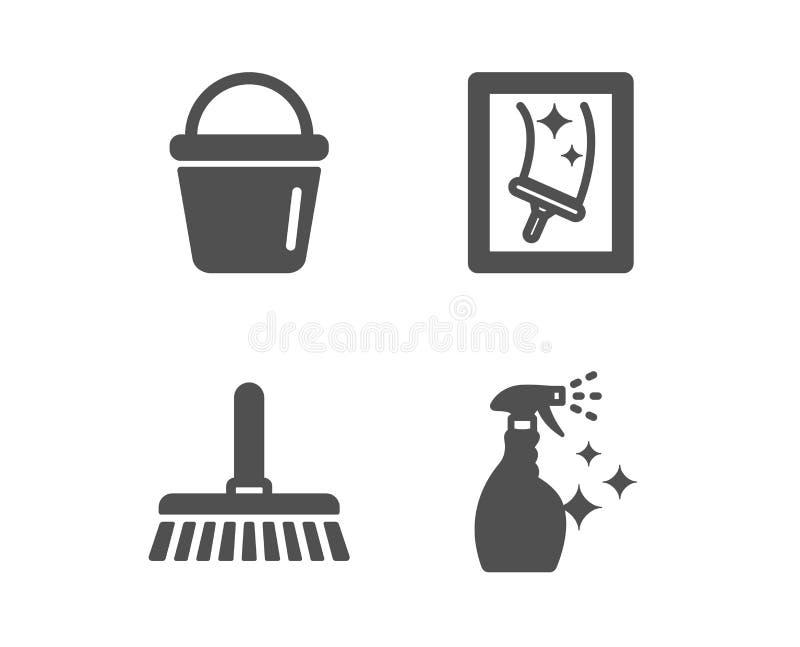Espanador de limpeza, de limpeza da cubeta e de janela ?cones Sinal de lavagem do limpador Vetor ilustração do vetor