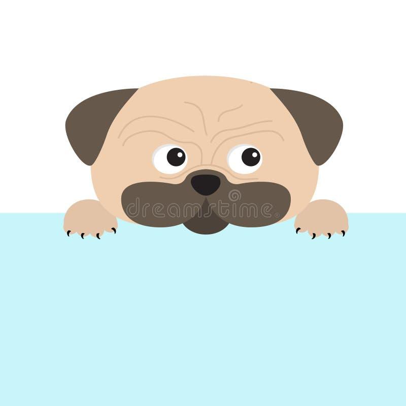 Espanadores e pata do cão do Pug Personagem de banda desenhada bonito Projeto liso ilustração do vetor