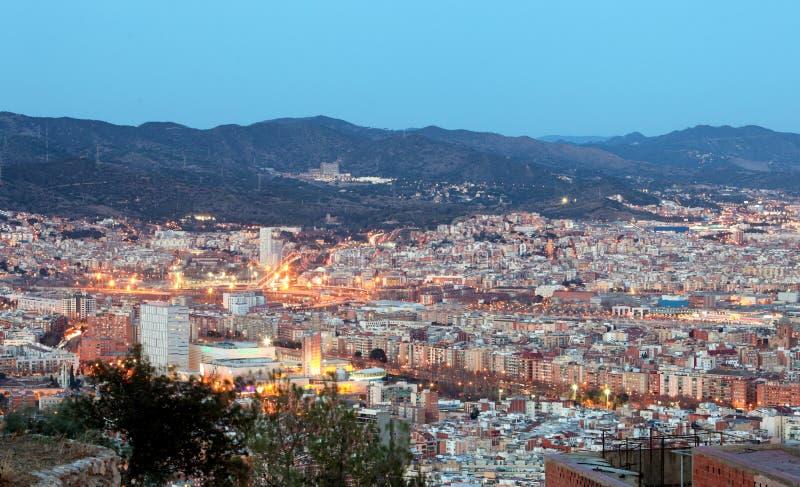 Espanha, arquitetura da cidade de Barcelona na noite imagem de stock