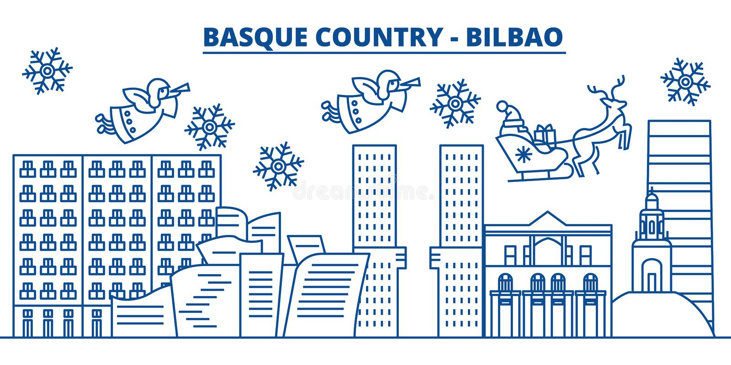Espanha, Bilbao, skyline Basque da cidade do inverno do país alegre ilustração stock