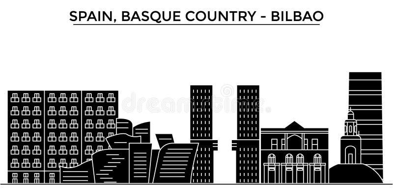 Espanha, Bilbao, skyline Basque da cidade do vetor da arquitetura do país, arquitetura da cidade do curso com marcos, construções ilustração do vetor