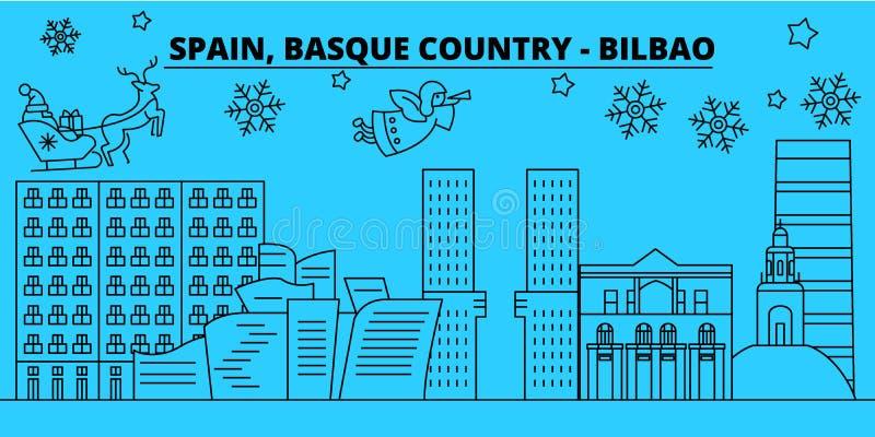 Espanha, Bilbao, skyline Basque dos feriados de inverno do país Feliz Natal, ano novo feliz com Santa Claus Espanha, Bilba ilustração royalty free